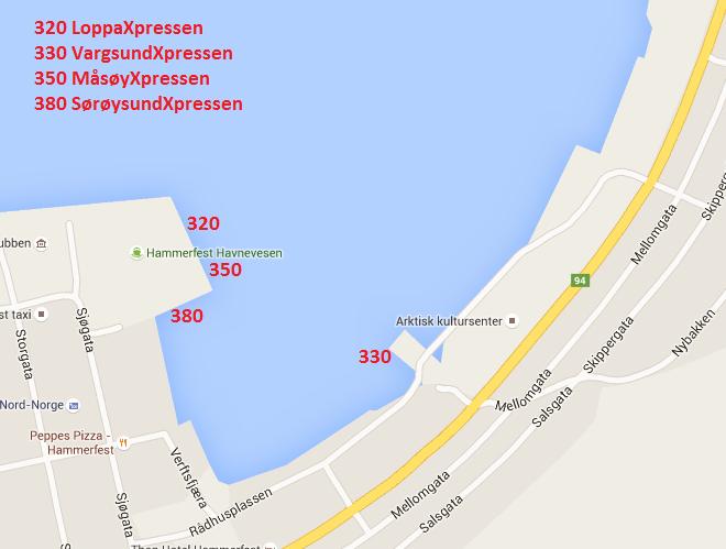 Oversiktsbilde over hvor hurtigbåtene ligger til kai i Hammerfest.